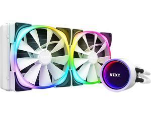 NZXT Kraken X63 RGB 280mm WHITE - RL-KRX63-RW - AIO RGB CPU Liquid Cooler - Rotating Infinity Mirror Design - Improved Pump - Powered By CAM V4 - RGB Connector - 2 x Aer P 140mm Radiator Fans White