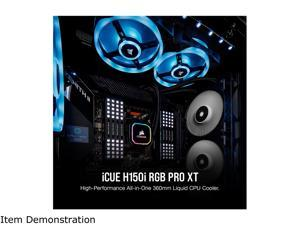 CORSAIR iCUE H150i RGB PRO XT, 360mm Radiator, Triple 120mm PWM Fans, Advanced RGB Lighting and Fan Control with Software, Liquid CPU Cooler