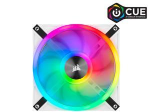 CORSAIR QL Series, iCUE QL140 RGB, 140mm RGB LED PWM White Fan, Dual Fan Kit with Lighting Node CORE - CO-9050106-WW
