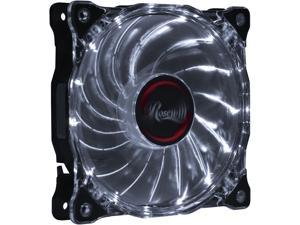 Rosewill RFA-80WL - 120mm CULLINAN Computer Case Cooling Fan with LP4 Adapter - Semi-Transparent Frame & White LED Lights, Sleeve Bearing, Silent
