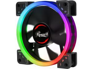 Rosewill 120mm True RGB LED Case Fan (1-Pack), Dual Ring Addressable RGB, Ultra Quiet Cooling with Long Life Rifle Bearing - RGBF-S12002