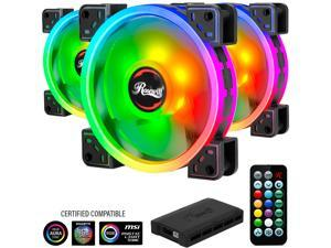 Rosewill RGBF-S12003 (3-Pack) 120mm Addressable RGB Fans and 8-Port Hub Set, Dual Ring True RGB LED, Ultra Quiet Cooling with Long Life Rifle Bearings