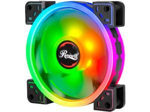 Rosewill RGBF-S12004 (1-Pack) 120mm Addressable RGB Fan, Dual Ring True RGB LED, Ultra Quiet Cooling with Long Life Rifle Bearings
