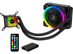 Rosewill PB120-RGB 120mm AIO CPU Liquid Cooler, All-In-One Closed Loop PC Water Cooling, Quiet Addressable RGB Ring Fan, Intel/AMD Compatible, 400mm Sleeved Tubing