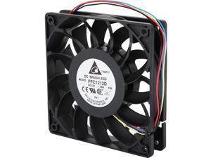 Delta FFC1212D-PWM High Quality Brushless DC Air Cooling Fan, 4000 RPM, 150 CFM, 44 dBA, 120x120x25mm, Dual Ball Bearing, PWM Fan Control