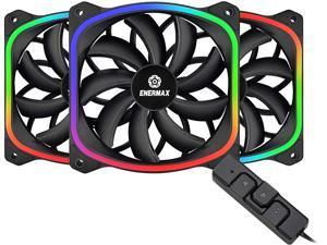 Enermax SquA RGB PWM 120mm Case Fan, Addressable RGB Sync Via Motherboard w/ RGB Control Box, 3 Fan Pack - Black, UCSQARGB12P-BP3