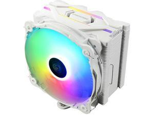 Enermax ETS-F40 Addressable RGB CPU Air Cooler 200W+ TDP for Intel/AMD Universal Socket 4 Direct Contact Heat Pipes 140mm Silent PWM Fan - White