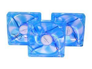 APEVIA  CF312SL-UBL  120mm UV Blue LED Cooling Fan 3 in 1 pack