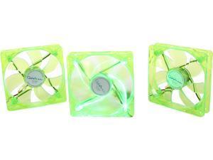 APEVIA CF312SL-UGN 120mm Green LED 120mm UV Cooling Fan 3 in 1 pack