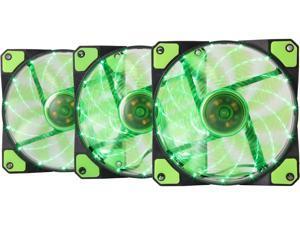 APEVIA AF312L-SGN 120mm Green LED Ultra Silent Case Fan w/ 15 LEDs & Anti-Vibration Rubber Pads (3-pk)