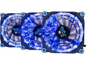 APEVIA 312L-DBL 120mm Blue LED 4pin+3pin Case Fan w/15x Anti-Vibration Rubber Pads (3 in 1 pack) - Retail
