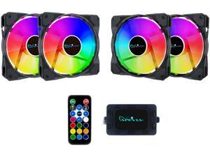 Apevia FR412L-RGB FrostBlade 120mm Silent Addressable RGB Color Changing LED Fan (4 fans) + 4-pin Control Box and RF Remote (4 Pack)