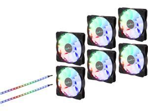 Apevia FR612L2S-RGB FrostBlade 120mm Silent Addressable RGB Color Changing LED Fan (6 fans) + 2 x Color Changing Magnetic LED Strips & 4-pin Control Box and RF Remote (6 + 2 Pack)