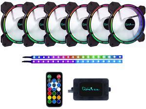 Apevia Arcane AR612L2S-RGB 120mm Silent Addressable RGB Color Changing LED Fan (6 Fans) + 2 x Color Changing Magnetic LED Strips & 4-pin Control Box and RF Remote (6 + 2 Pack)