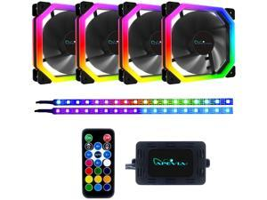 Apevia Phoenix PH412L2S-RGB 120mm Silent Addressable RGB Color Changing LED Fan (4 Fans) + 2 x Color Changing Magnetic LED Strips & 4-pin Control Box and RF Remote (4 + 2 Pack)
