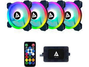 APEVIA Twilight TL412L-RGB 120mm Silent Addressable RGB Color Changing LED Fan + 4-pin Control Box and RF Remote (4 Pack)