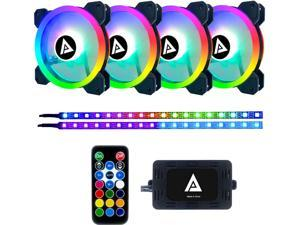 APEVIA Twilight TL412L2S-RGB 120mm Silent Addressable RGB Color Changing LED Fan (4 Fans) + 2 X Color Changing Magnetic Led Strips & 4-pin Control Box and RF Remote (4 + 2 Pack)