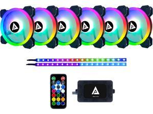 APEVIA Twilight TL612L2S-RGB 120mm Silent Addressable RGB Color Changing LED Fan (6 Fans) + 2 x Color Changing Magnetic Led Strips & 4-pin Control Box and RF Remote (6 + 2 Pack)