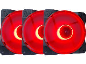 APEVIA CO312L-RD Cosmos 120mm Red LED Ultra Silent Case Fan w/ 16 LEDs & Anti-Vibration Rubber Pads (3 Pack)