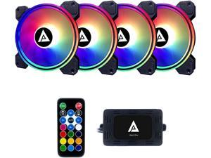 Apevia Electro ET4-RGB 120mm Silent Addressable RGB Color Changing LED Fan (4 fans) + 4-pin Control Box and RF Remote (4 Pack)