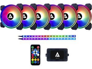 Apevia Electro ET62-RGB 120mm Silent Addressable RGB Color Changing LED Fan (6 fans) + 2 x Color Changing Magnetic LED Strips & 4-pin Control Box and RF Remote (6 + 2 Pack)