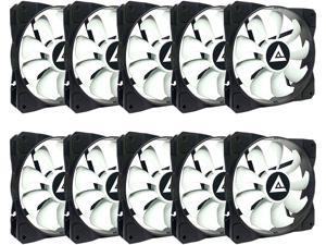 APEVIA 1012S-WB 120mm Non-LED Black/White Fan with Anti-Vibration Rubber Pads (10 Pack)