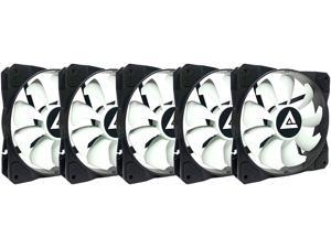 APEVIA 512S-WB 120mm Non-LED Black/White Fan with Anti-Vibration Rubber Pads (5 Pack)