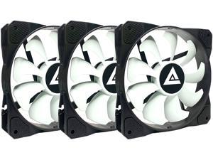 APEVIA 312S-WB 120mm Non-LED Black/White Fan with Anti-Vibration Rubber Pads (3 Pack)
