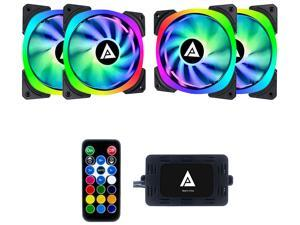 Apevia Lunar Pro 120mm Silent Addressable RGB Color Changing LED Fan (4 Fans) + 4-Pin Control Box and RF Remote (4 Pack), LP412L-RGB