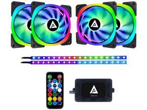 Apevia Lunar Pro 120mm Silent Addressable RGB Color Changing LED Fan (4 Fans) + 2 x Color Changing Magnetic LED Strips & 4-Pin Control Box and RF Remote (4 + 2 Pack), LP412L2S-RGB