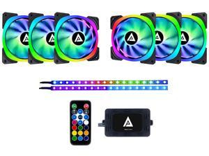 Apevia Lunar Pro 120mm Silent Addressable RGB Color Changing LED Fan (6 Fans) + 2 x Color Changing Magnetic LED Strips & 4-Pin Control Box and RF Remote (6 + 2 Pack), LP612L2S-RGB