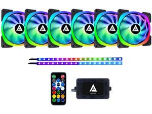 Apevia LP614L2S-RGB Lunar Pro 140mm Silent Dual-Ring Addressable RGB Fan for Gaming + 2 x Color Magnetic LED Strips & 4-Pin Control Box and RF Remote Control(6 + 2pk)