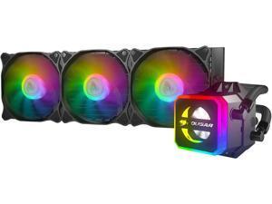 COUGAR Helor 360, RL-HLR360-V1, Liquid CPU Cooler, 360 mm, with 3 Vortex Omega 120 mm Fans. Addressable RGB, Core Box v2 and a Remote Controller.