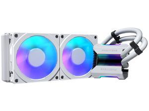Phanteks Glacier One 240MPH D-RGB AIO Liquid CPU Cooler, Infinity Mirror Pump Cap Design, 2x Silent 120mm MP PWM Fans, 2x D-RGB Halos Fan Frames, White, PH-GO240MPH_DWT01