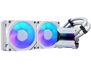 Phanteks Glacier One 240MPH D-RGB AIO Liquid CPU Cooler, Infinity Mirror Pump Cap Design, 2x Silent 120mm MP PWM Fans, 2x D-RGB Halos Fan Frames, White