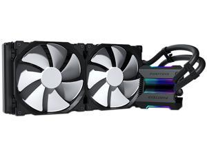Phanteks Glacier One 280MP D-RGB AIO Liquid CPU Cooler, Infinity Mirror Pump Cap Design, 2x Silent 140mm MP PWM Fans, Black