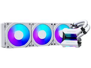 Phanteks Glacier One 360MPH D-RGB AIO Liquid CPU Cooler, Infinity Mirror Pump Cap Design, 3x Silent 120mm MP PWM Fans, 3x D-RGB Halos Fan Frames, White