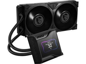 """MSI MEG Core Liquid S280 AIO Liquid CPU Cooler, 2.4"""" IPS Display 280mm Radiator, Duo 140mm Silent Gale P14 Controlled by MSI Center Software"""