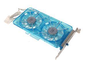 Vantec Spectrum Fan Card with Dual 70mm Adjustable UV LED Fans - Model SP-FC70-BL