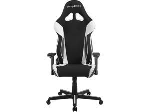 DXRacer Ergonomically Designed Racing Series RAA106 Black and White Strong Mesh and PU Leather 135-degree Recline High-End Gaming Chair with Neck and Lumbar Support Pillow