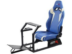 GTR Racing Simulator GTA-BLK-S105LBLWHT GTA Model Black Frame with Blue/White Real Racing Seat, Driving Simulator Cockpit Gaming Chair with Gear Shifter Mount