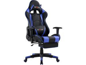 Ficmax Massage Gaming Chair Reclining Racing Office Chair High Back Video Game Chair Ergonomic Gamer Chair with Footrest Height Adjustable Computer Chair with Headrest and Lumbar Support (Black/Blue)