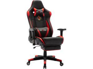 Ficmax Massage Gaming Chair Reclining Racing Office Chair High Back Gamer Chair with Footrest Memory Foam Gaming Computer Chair Large Gaming Desk Chair E-Sports Chair with Headrest and Lumbar Support