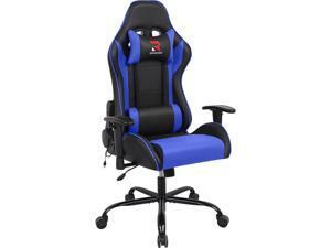 High Back Bonded Leather Ergonomic Massage Computer Gaming Chair Racing Desk Office Chair- Swivel Adjustable Armrest Soft Headrest&Backrest