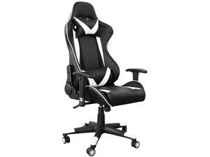 Kimrace Gaming Chair PC Office Chair Computer Chair with High Back, Faux Leather, Backrest and Seat Height Adjustment, Black / White