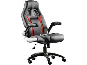 Furgle PU Leather Executive Office Desk Task Computer boss luxury Chair Black&Red