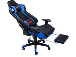 Nokaxus Gaming Chair Large Size High-Back Ergonomic Racing Seat with Massager Lumbar Support and Retractible Footrest PU Leather 90-180 Degree Adjustment of backrest Thickening sponges