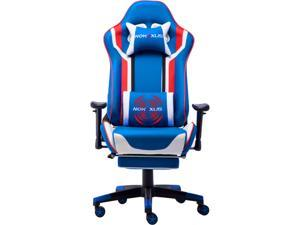 Nokaxus Gaming Chair Large Size High-Back Ergonomic Racing Seat with Massager Lumbar Support and Retractible Footrest PU Leather 90-180 Degrees Adjustment of Backrest Thickening Sponges