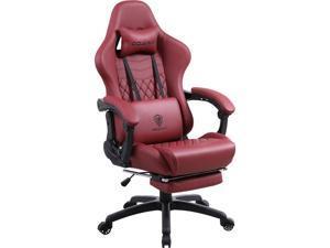 DOWINX Gaming Chair Office Desk Chair with Massage Lumbar Support, Vintage Style Armchair PU Leather E-Sports Gamer Chairs with Retractable Footrest (Red)
