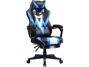 Zeanus Gaming Chair with Footrest, Recliner Computer Chair for Teens, Gaming Chair with Massage, Ergonomic Gaming Computer Chair, Gaming Desk Chair, Big and Tall Gaming Chairs for Adults (Blue)